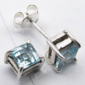Silver Square BLUE Topas 4-Prong ARTISAN Stud Post Earrings 0.5 CM