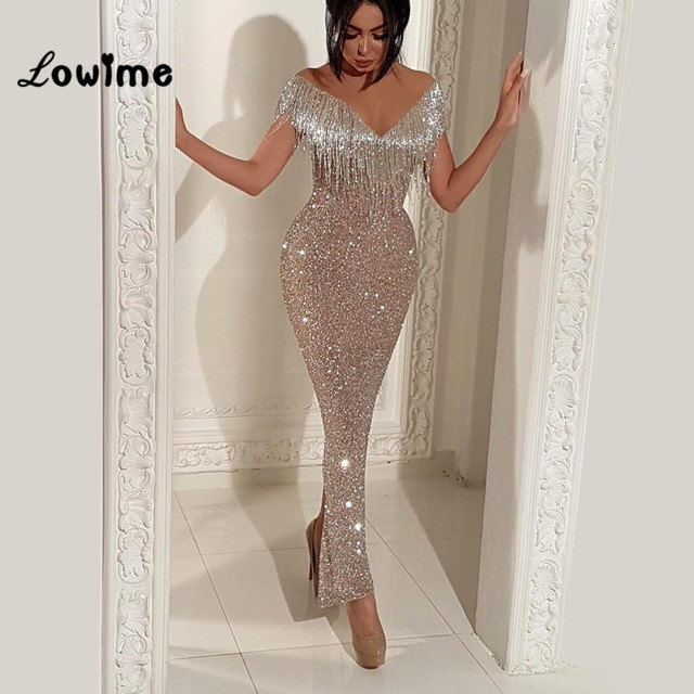 373f002f Slim Mermaid Arabic Evening Dresses V Neck Moroccan Kaftans Middle East  Party Dress 2018 Vestidos Ankle