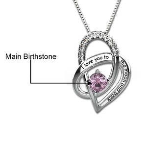 Image 2 - I Love You To The Moon and Back Necklace Womens Gift Custom Necklaces Silver Chain Crystal Birthstone Heart Pendant Present