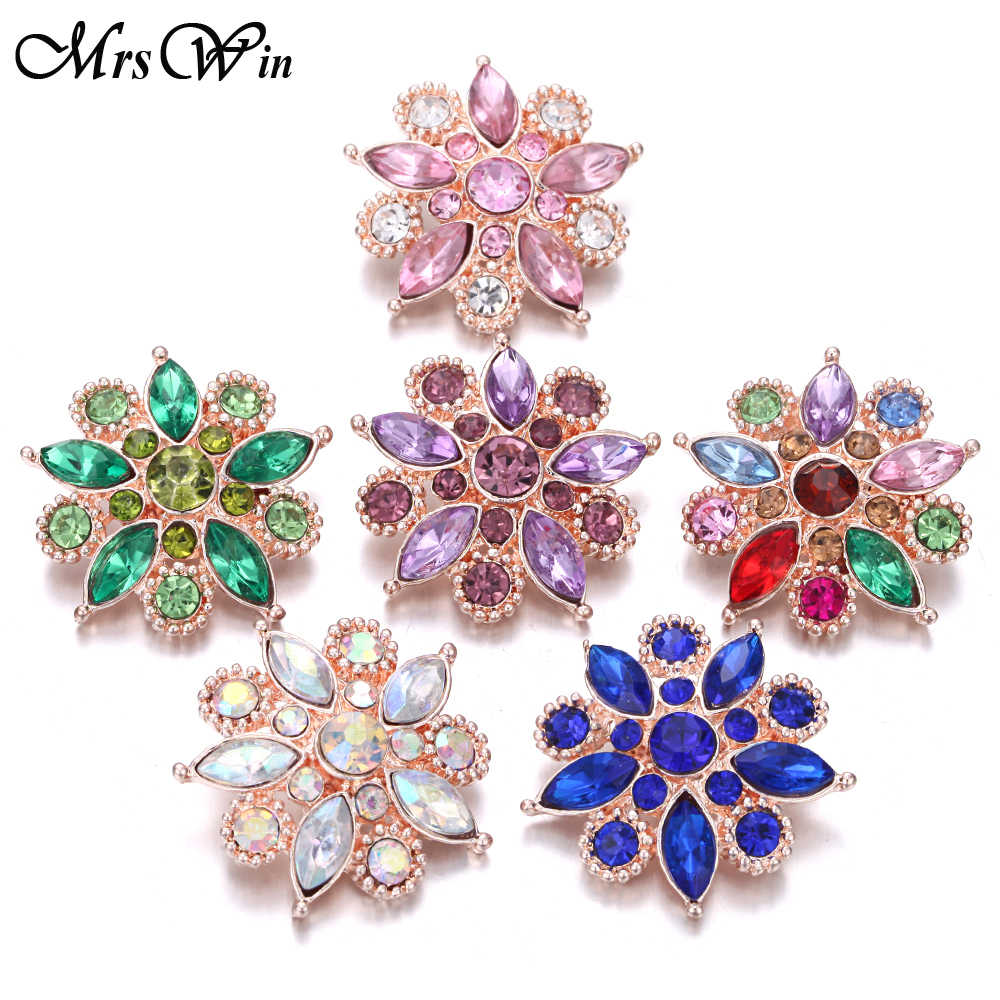 6pcs/lot New Rose Gold Snap Button Jewelry Rhinestone Crystal Love Heart Snap Button for 18MM Snap Bracelet Love Jewelry