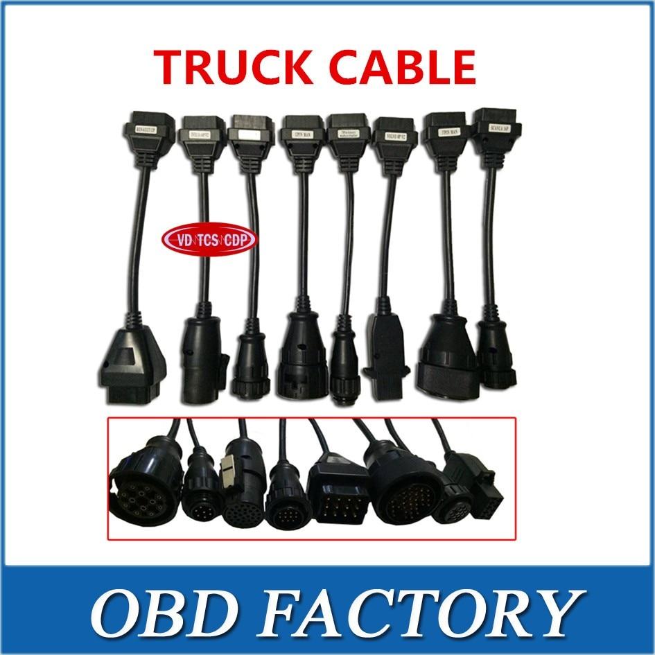 Цена за Адаптер грузовик кабель для VD TCS CDP грузовиков подключить кабель полный набор 8 грузовиков Кабели кабель для multidiag Pro и WOW CDP snooper
