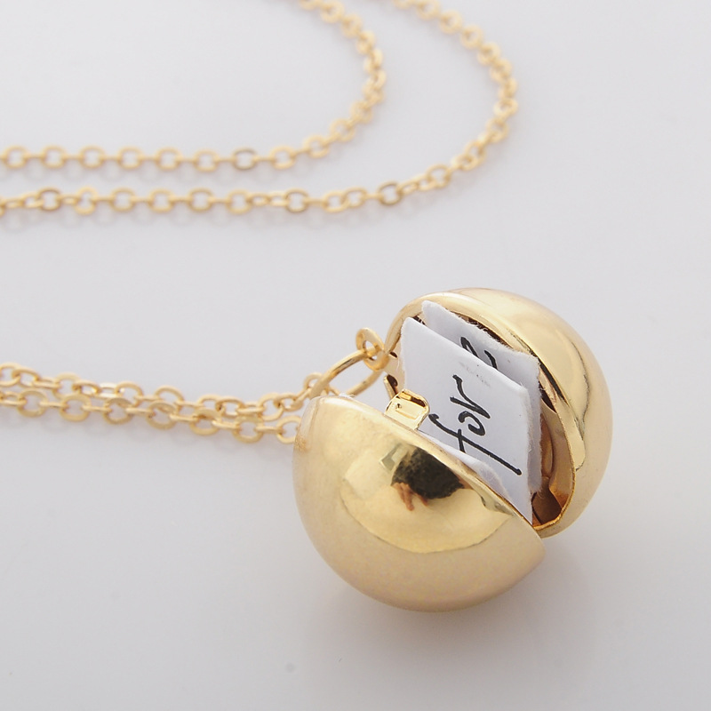 Custom Handmade Charm lady Secret Message Ball Locket Silver Gold Pendant Necklace Jewelry Love Confession Sweater Necklace Gift locket