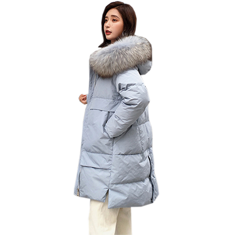 90% Duck   Down   Jacket Woman Hooded Parka Winter   Coat   Women Outwear 2018 Fashion Raccoon Fur Collar Long   Down     Coats   YP2094