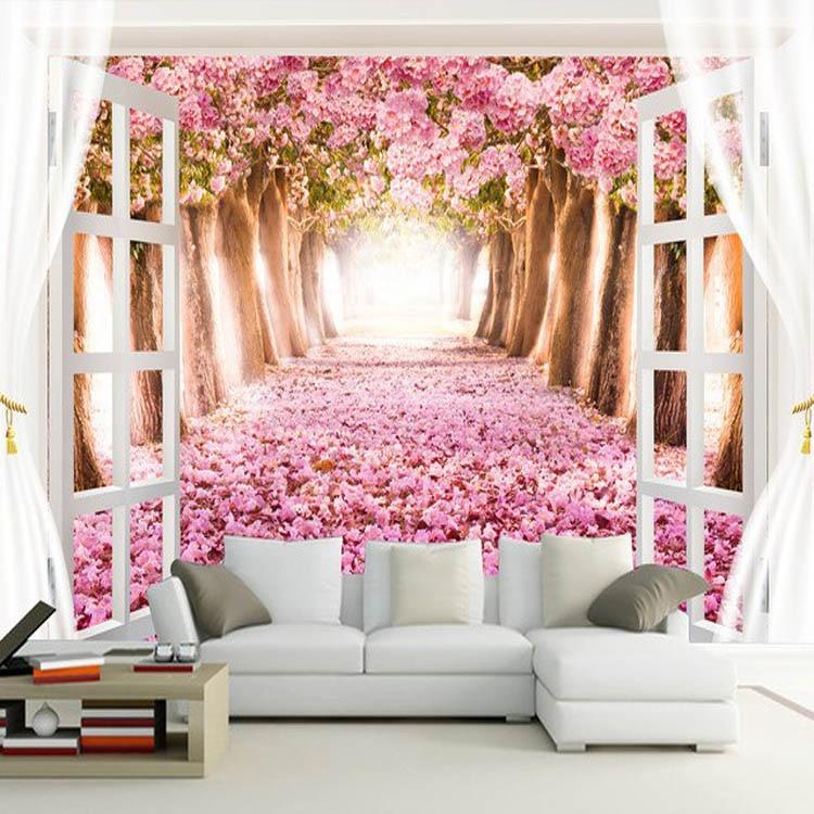 colour vinyl living flower landscape rosa tapete customize aliexpress blume wohnzimmer anpassen landschaft hintergrund farbe moderne cheap