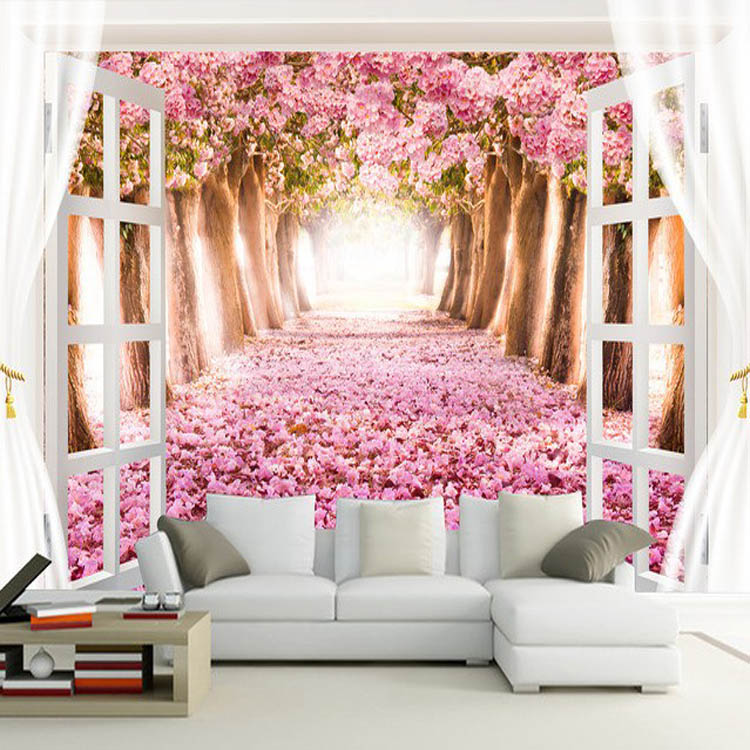 Modern wallpaper pink colour flower 3d landscape wallpaper customize vinyl wallpaper living room TV background decor