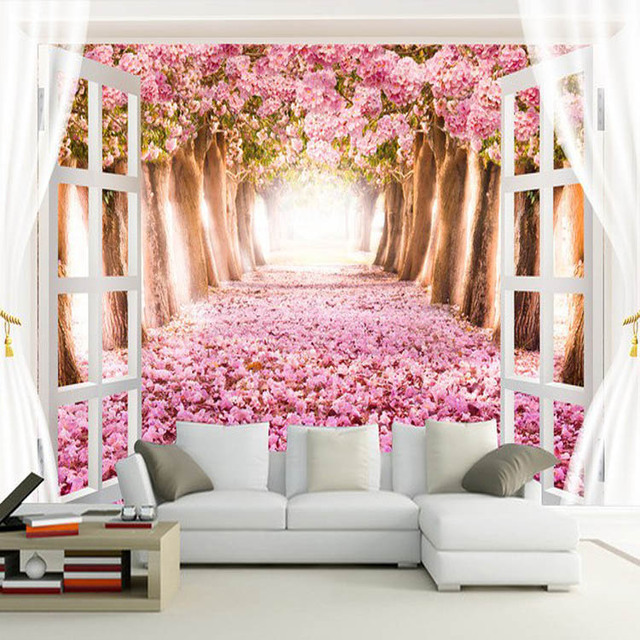 Modern wallpaper pink colour flower 3d landscape wallpaper ...