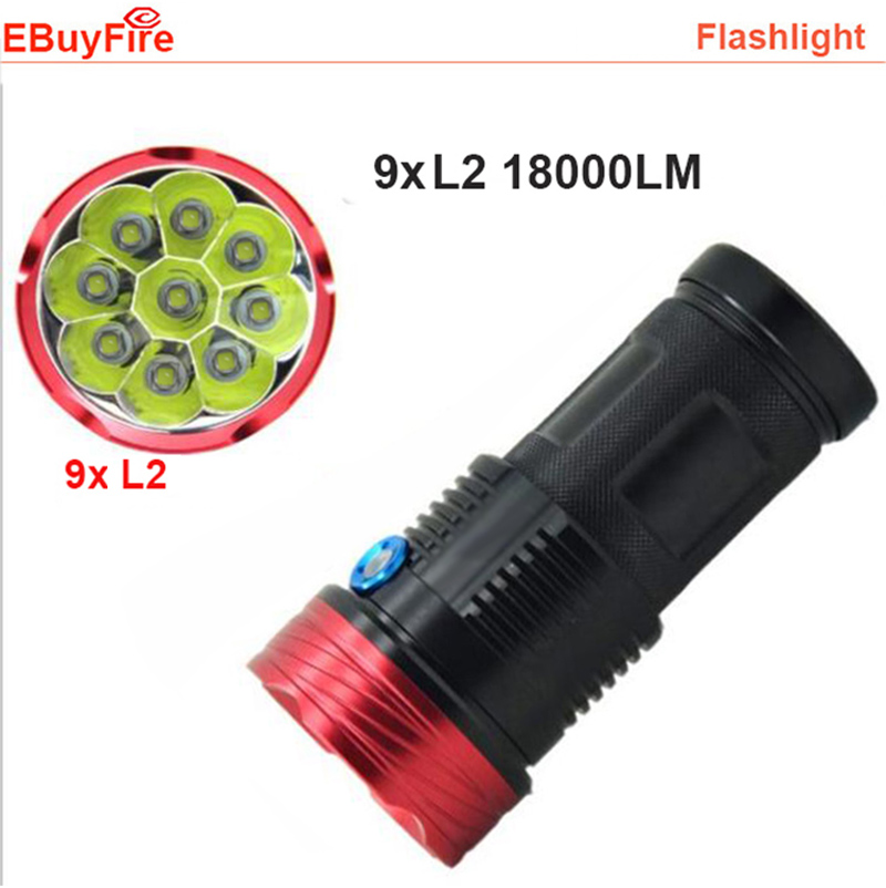 New 9L2 U2 Led Flashlight 18650 18000Lumen 9x XML L2 9T6 LED Flashlight Torch Hunting Work Lamp xml u2 светодиодные блок велосипед глава лампы свет батареи 18650