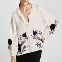 UK7388 Women Foral Za Style Embroidery Ruffles Blouses Za Shirt Cotton Pullovers Womens Camisa Loose Blusas