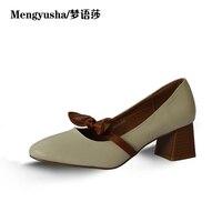 קשת קוריאנית חדשה בסתיו Mengyusha2018 מחוספס עקב גבוה מרי ג 'יין עם נעליים מזדמנים