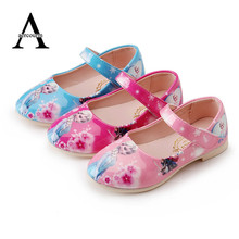 Autumn New Children Shoes Princess Girls Shoes Kids Ice Snow Queen Fashion Elsa Anna Casual Single Leather Kids Sneakers 27-36