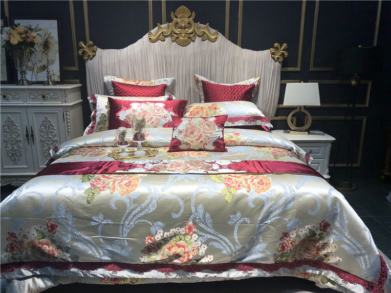 high end luxury silk egyptian cotton jacquard satin bedding set duvet cover bed linen bed sheet. Black Bedroom Furniture Sets. Home Design Ideas