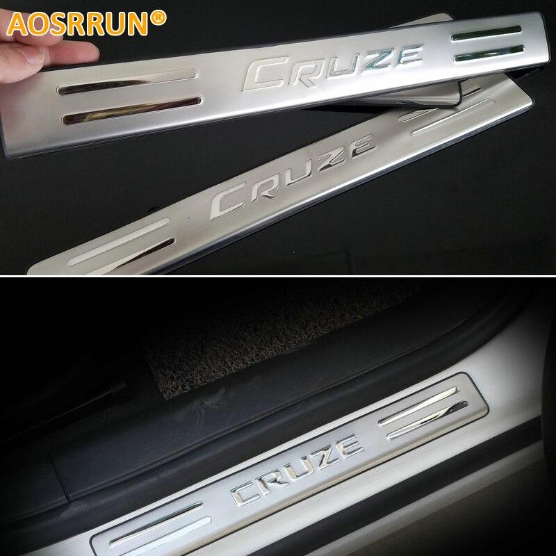AOSRRUN 2009 2010 2011 2012 2013 Für chevrolet Chevy Cruze fließheck edelstahl led-verschleißplatten-türeinstiegsleisten auto zubehör