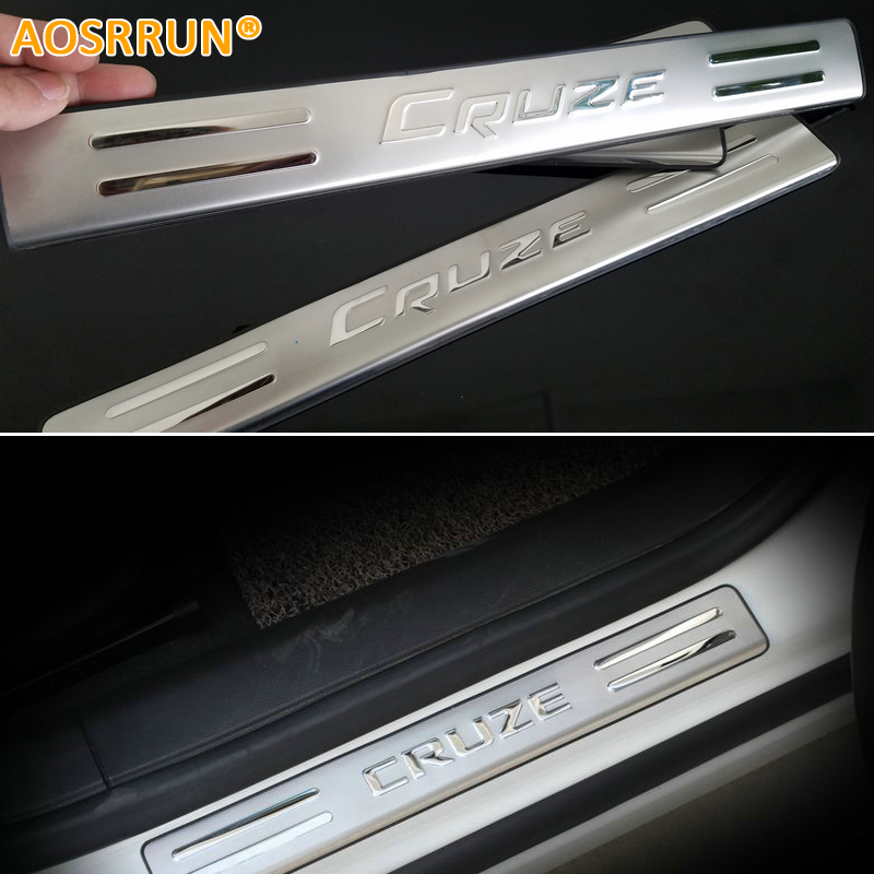 AOSRRUN 2009 2010 2011 2012 2013 For chevrolet Chevy Cruze hatchback stainless steel scuff plate door