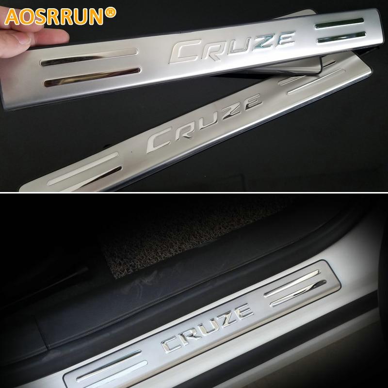 AOSRRUN 2009 2010 2011 2012 2013 Per chevrolet Chevy Cruze hatchback dello scuff dell'acciaio inossidabile piatto davanzale del portello accessori auto