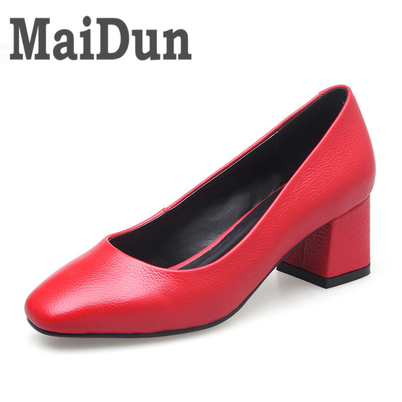 Footwear Women Pumps Genuine Leather Fashion Elegant Pointed Toe Slip-On Square Heel Woman Shoes Black White Red Green Color british college style genuine leather sexy pointed toe pumps fashion tassel slip on red black beige square med with women shoes