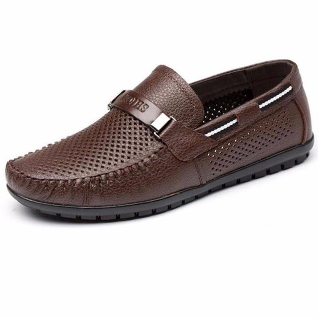 2016 Hueco de Verano de Cuero Genuino Zapatos Planos de Los Hombres Holgazanes Ocasionales Respirables Zapatos Chaussure Homme Hombres Mocasines de Cuero Real