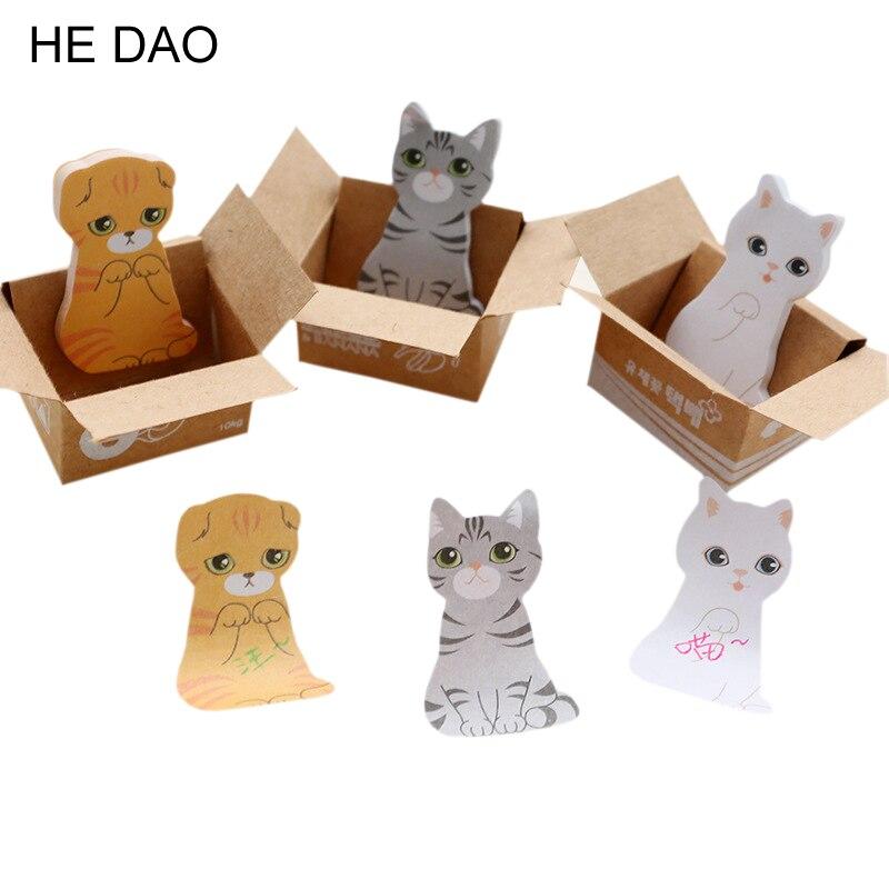 3D Cartoon Kawaii Scrapbooking Cat Dog Box Stickers Cute Korean Stationery Sticky Notes Office School Supplies Post It Memo Pad