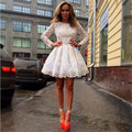 Special Occasion Dresses 2016 Free Shipping White Lace Cocktail Dresses Above Cocktail Dress with Long Sleeves