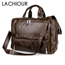 лучшая цена LACHIOUR Cow Genuine Leather bag Business Men bags Laptop Tote Briefcases Crossbody bags Shoulder Handbag Men's Messenger Bag