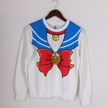 Nowy 2018 koszula Sailor Moon Harajuku kawaii słodkie fałszywe imitacja top role-playing sailor kostium darmowa wysyłka tanie tanio Kobiety Bluzy Czesankowej O-neck Pełna Swetry 0 22 Poliester COTTON Brsr REGULAR Drukuj RWY025 Natural Color Fashion