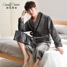 candy dance Men s autumn winter coral fleece robes thickening velvet  thermal flannel d6b1e7db7