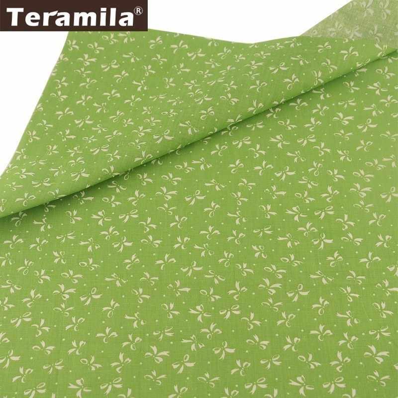 Teramila 100% bawełna tkaniny zielony spód Telas biała muszka wzór włókienniczych lalki do własnoręcznego wykonania Scrapbooking tkanki tkaniny Patchwork