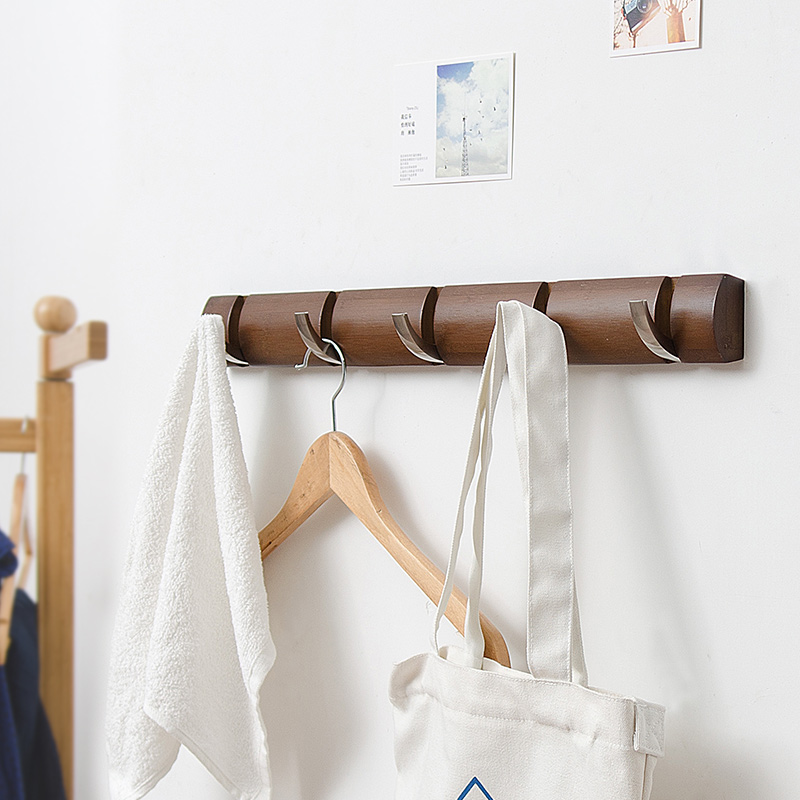 Durable 100% Bamboo Clothes Hanger with 5 Stainless Steel Hooks Coat Towel  Scarf Wall Mounted Rack Bedroom Bathroom Kitchen Use-in Home Office Storage  from ...