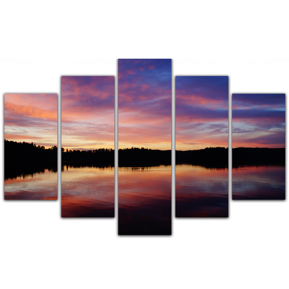 Unframed Canvas Painting Dusk Lake Surface Colorful Clouds Photo Picture Prints Wall Picture For Living Room Wall Art Decoration