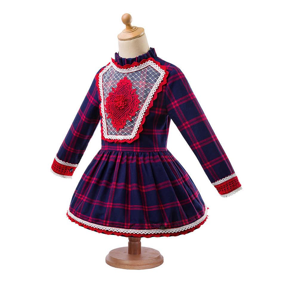 Pettigirl/темно-синие осенние сетчатые платья для девочек с головным убором, платье для девочек с надписью «ромб» модная детская одежда G-DMGD103-B222