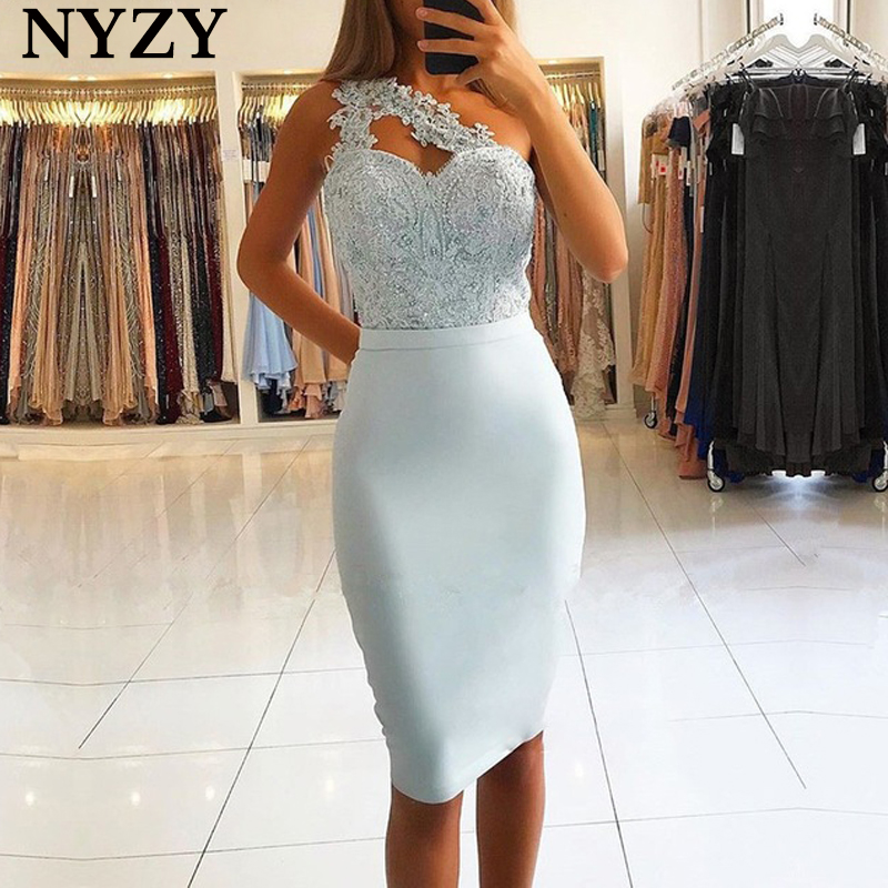 Elegant One Shoulder Robe Cocktail Dress 2019 NYZY C175 Baby Blue Satin Dress Party Graduation Homecoming