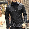 Leather Jacket Shirts Men Plus Velvet Camisa Social Masculina Brand Warm Slim Fit Men Black Shirt