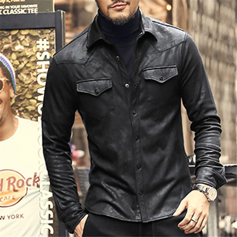 Leather jacket shirts men plus velvet camisa social for Mens shirts with leather
