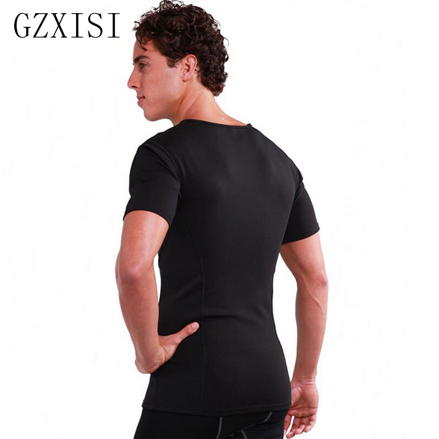 Black Slimming Men Thermo <font><b>Neoprene</b></font> Shaper Short Sleeve <font><b>T</b></font> <font><b>Shirt</b></font> Man Sweat Body Shaper Tops <font><b>Shirt</b></font> Stretch Sliming Shapewear image