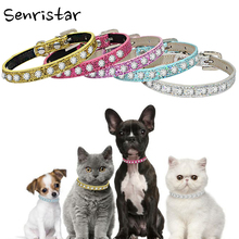 Bling Rhinestone Leather Dog Collar for Small Puppy Kitten Cat Diamond Soft Safe Chihuahua Yorkshire Pet
