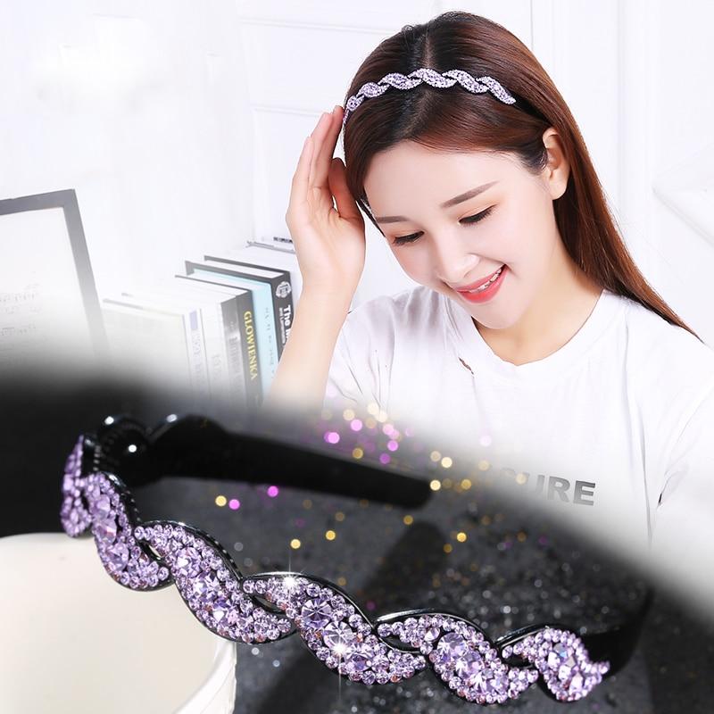 Korea All Match Hairband Sparkiling Rhinestone Twist Women Hair Accessories Many Colors Slip-Proof Girl Hairwear Simple Headband