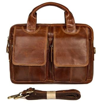 Genuine Leather men bag European and American retro fashion bag Retro casual shoulder Messenger Briefcases bag Men's Backpacks