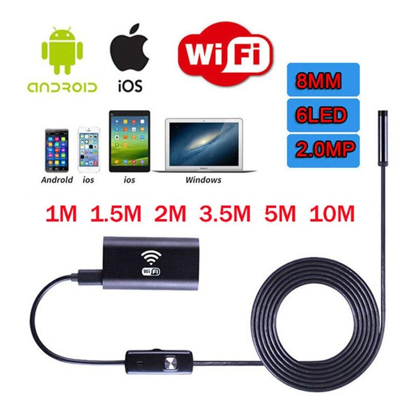 JINGLESZCN WIFI Endoscopio USB Della Macchina Fotografica 8mm Periscopio Ispezione Endoskop 10 m 2 m 3.5 m 5 m HD Serpente telecamera Endoscopica Android di Windows