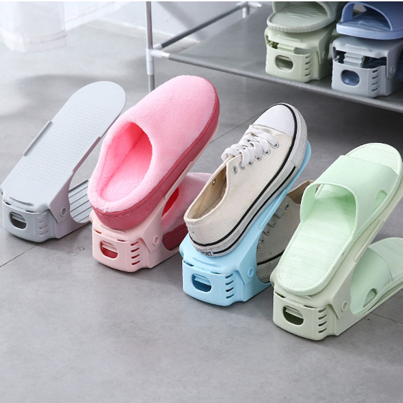 050 Home Simple adjustable shoe rack double deck plastic shoe storage rack 24 8 7 17cm in Storage Holders Racks from Home Garden