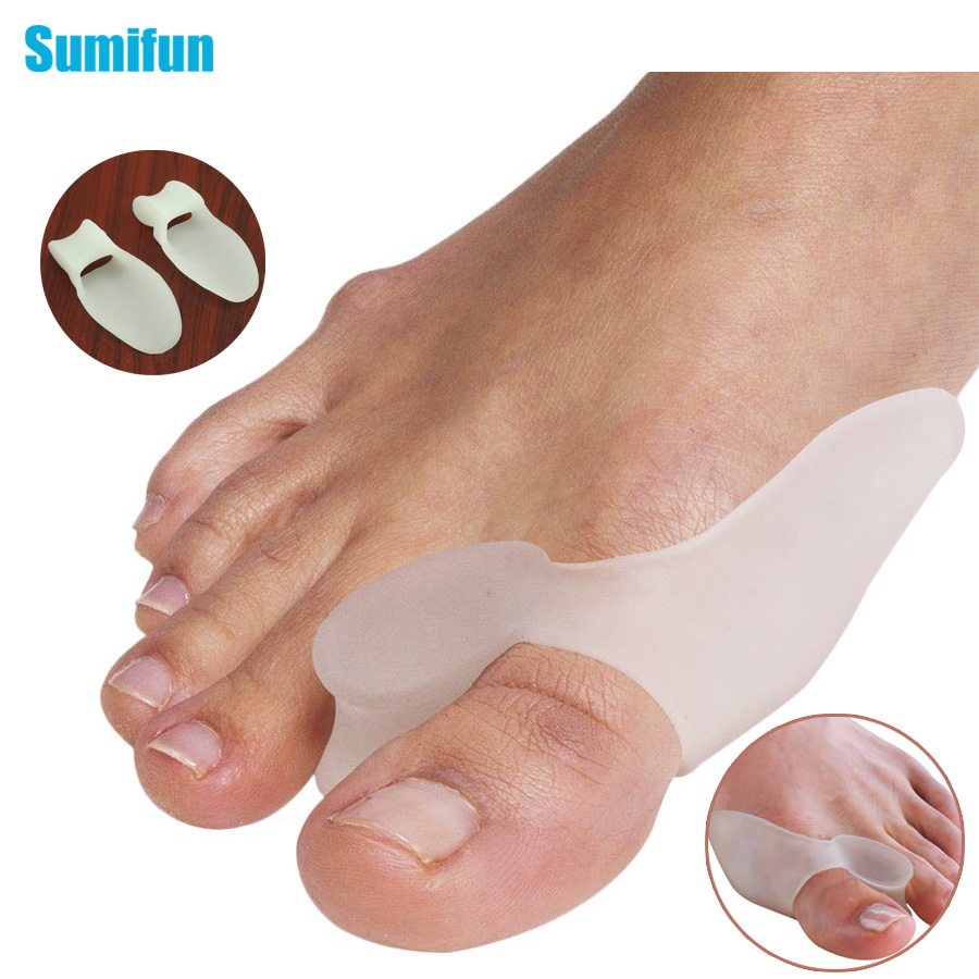 Sumifun 2Pcs Silicone Gel Bunion Splint Big Toe Separator Overlapping Spreader Corrector Hallux Valgus Foot Massager C147