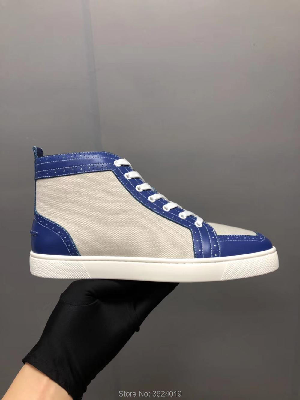 84abdb3adfab High Cut shoes clandgz Men White With Blue Denim Lace Up Red bottom Shoe  Sneakers Leather Loafers 2018 Footwear Spring Autumn-in Men s Casual Shoes  from ...