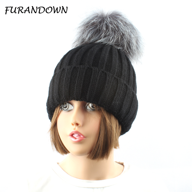 5e0d98ceaf2bb FURANDOWN Winters Real Silver Fox Fur Pompom Hats For Women Winter Warm  Thick Knitted Beanies Hats Used below zero