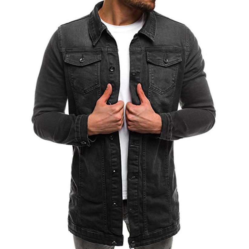 Herren Mantel Männer Herbst Winter Langarm Vintage Distressed Demin Jacke Top Mantel Outwear augu16