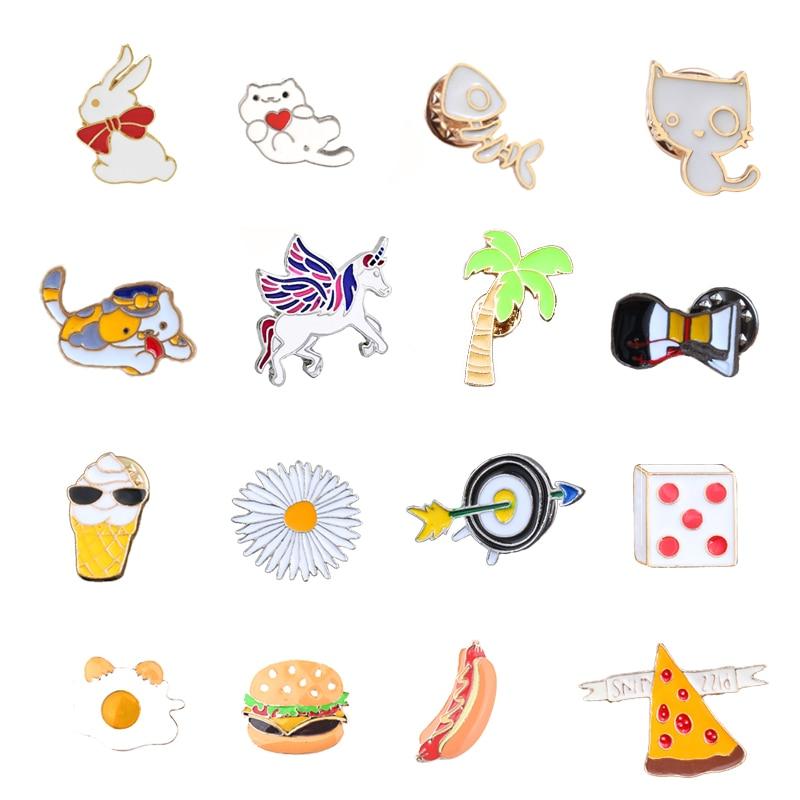 18 estilos creativa animales de dibujos animados gato broche con diseño de perro hamburguesa Pizza dados daisy pines Pin de metal esmaltado insignias broches para la joyería de las mujeres