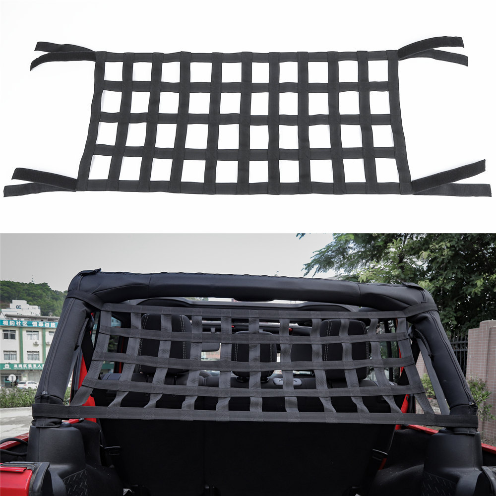 Get This Heavy Duty Cargo Net Car Top Roof Hammock Bed Rest Storage Jeep Wrangler Jk Accessories Network Cover For 2007 2018 Exterior 1pc