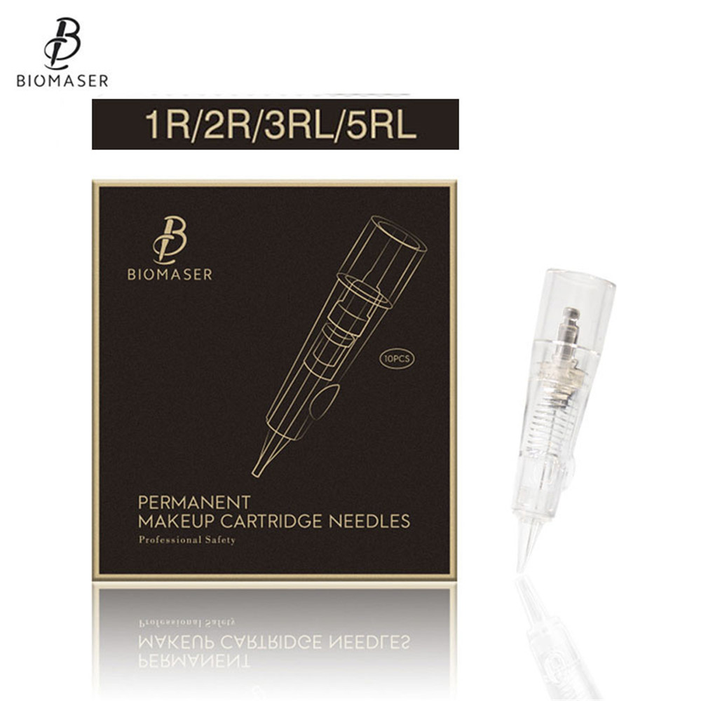 10PCS BIOMASER Needles 1r Disposable Permanent Makeup Tattoo Needle Cartridge For Machine Eyebrow Tattoo Lip With 1R,2R,3R,5R 50pcs 1r needles and 50pcs 1r needles caps for permanent makeup good quality traditional tattoo needles for eyebrow lips