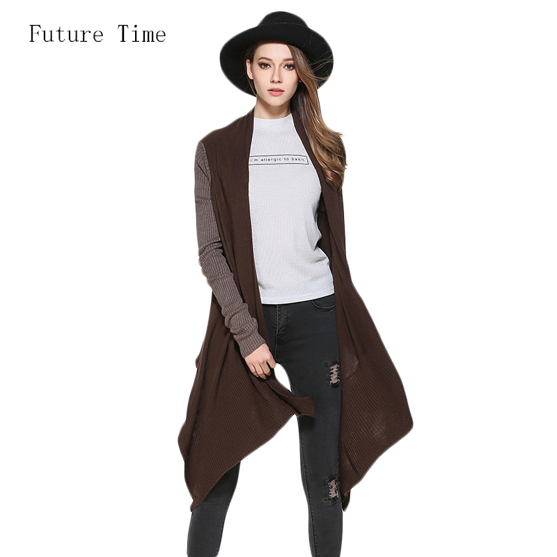 Future Time Solid Brief Knitwear Sweater Cardigans 2017 Autumn Fashion Asymmetrical Long Cardigan Women Thin Open Stitch SK271