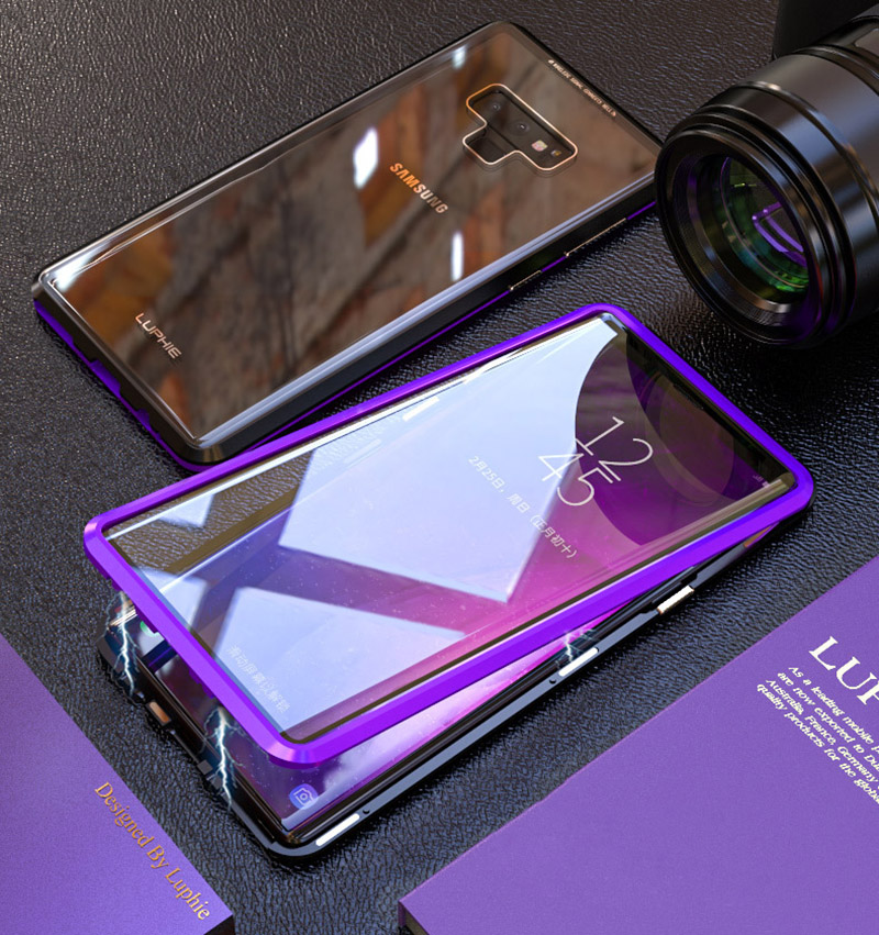 Luxury 360 Double sided front+back glass Magnetic case for samsung galaxy s9 plus note 9 Aluminum metal magnet case cover coque  (10)