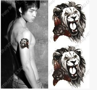 1 62 1 Pcs Hm 566 Lion Tête Poitrine Tatouage Hommes étanche Tatouage Temporaire Autocollant Homme Pâte De Corps Dans Temporaire Tatouages De