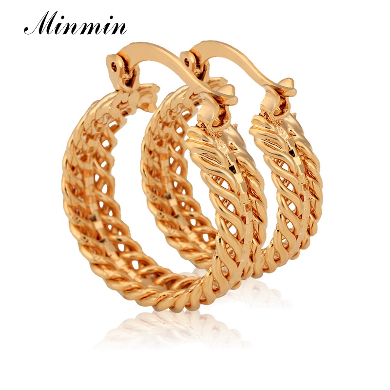 Minmin 2218mm Round Hoop Earrings For Women Fashion Accessories Wholesale Gorgeous Gold Color Jewelry EH415