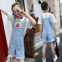Children's Garment Girl A Summer Straps Shorts Girl Cowboy Salopettes Tight Pants Overalls